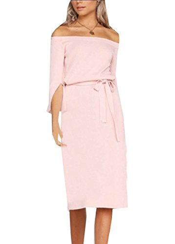 Solid Dress The Below Pink Colored Sleeve Autumn Coolred Women Long Knee Split XxCw66a
