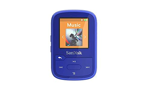 SanDisk 16GB Clip Sport Plus MP3 Player, Blue - Bluetooth, LCD Screen, FM Radio - SDMX28-016G-G46B