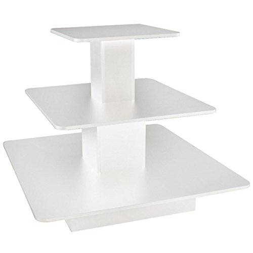 3 Tier Display Table Square Boutique Clothing Store Wood Fixture White NEW by Bentley's Display