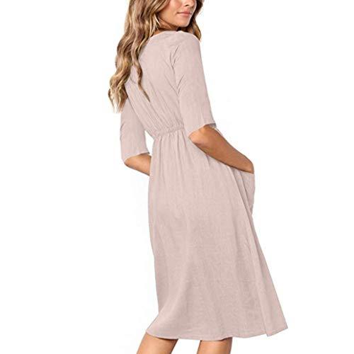 Abajo botón Verano Vestido Largo Mujer Mujer 2018 Dama Playa Gusspower Verano Vestidos Bohemio Maxi Vestido S4Aq77f