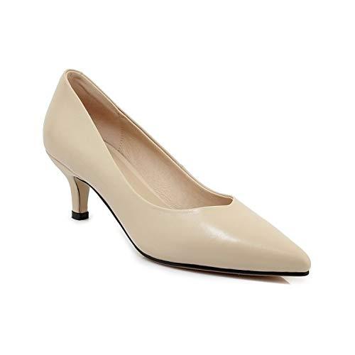 Spring ZHZNVX amp; Leather Zapatos Rosa Comfort Stiletto Almendra de Yellow Amarillo Heels Nappa Heel Summer Mujer YXHxBXq