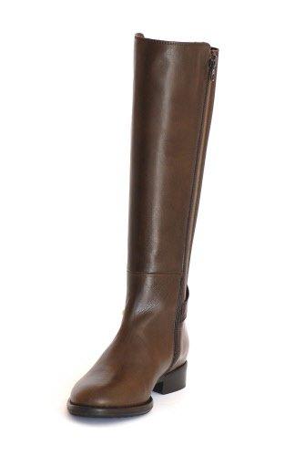 Marianna , Stivali donna in pelle di colore marrone, tacco basso, n. 42