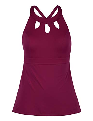 (Septangle Women's Black Halter Tankini Top Cross Back Bathing Suit (Wine Red, US 10))