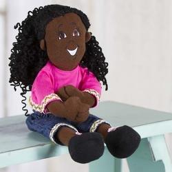 Girl Rag Doll with Black Yarn Hair - 12 Inches Tall