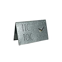Rae Dunn Desk Clock - TIC TOC Battery Operated Modern Metal Rustic Design with for Bedroom, Office, Kitchen - Small Classic Analog Display - Chic Home Décor for Desktop Table, Countertop
