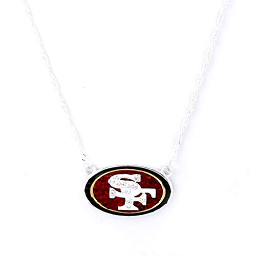 Drop of Silver NFL Football San Francisco 49ers Crystal Logo Necklace in Red, Black, White Gold Crystal San Francisco 49ers Football