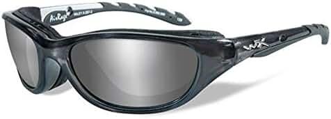 Wiley X Airrage Sunglasses, Polarized Silver Flash, Crystal Metallic