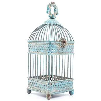 Small Antique Blue Square Iron Bird Cage by Everydecor