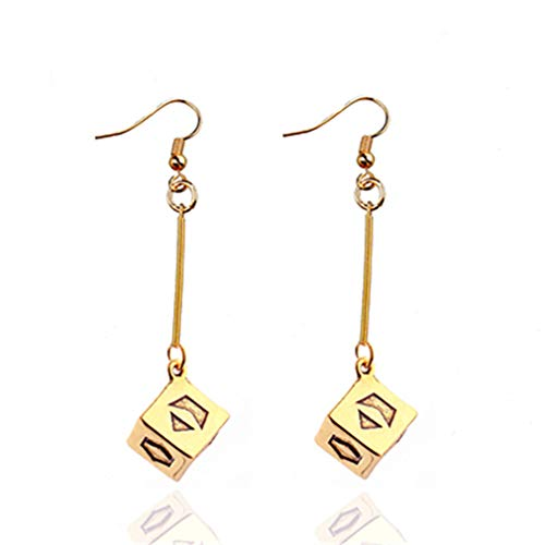 Star Wars Long Drop Dangle Earrings Gold Han Solo Lucky Dice Prop Earrings Movie Jewelry For Women Girls Gift Gold-color