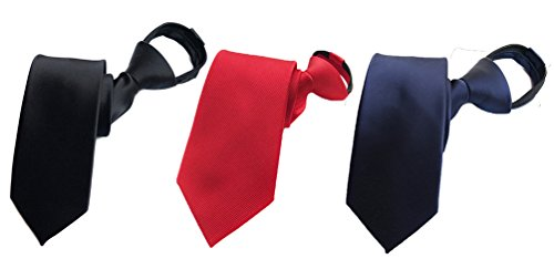 MINDENG Men's Lot of 3 Necktie Casual Business Wedding Slim Neck Tie Zipper Ties by MINDENG (Image #1)