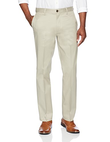BUTTONED DOWN Men's Relaxed Fit Flat Front Stretch Non-Iron Dress Chino Pant, Khaki, 36W x 34L
