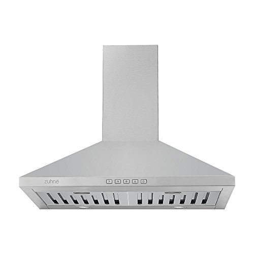 Zuhne Ventus 30 inch Range Hood With Chimney Extension for 9' - 11' Feet Ceiling