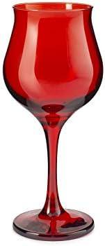 Pasabahce 518728 Wavy - Juego de 6 copas de vino, cristal, rojo, cl37