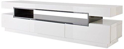 Robas Lund 59018WG3 TV-Lowboard Laura, Hochglanz weiß, Fach grau, 3 Schubkästen, B/T/H circa 200 x 50 x 52 cm