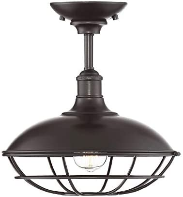 Trade Winds Lighting TW60048ORB Industrial Retro Barn Metal Hood and Cage Semi-Flush Mount Light, 100 Watts, in Oil Rubbed Bronze