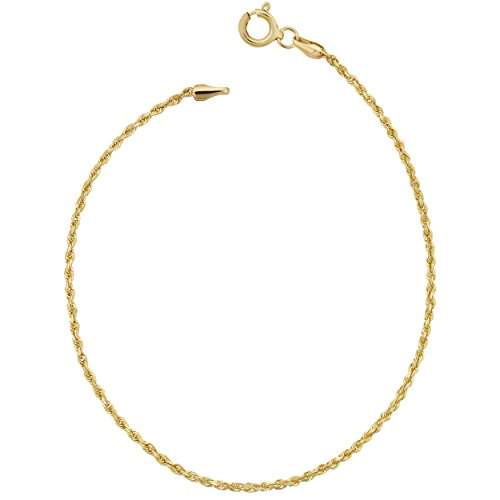10k Yellow Gold Rope Chain Bracelet (1.5mm, 7.5 inch)