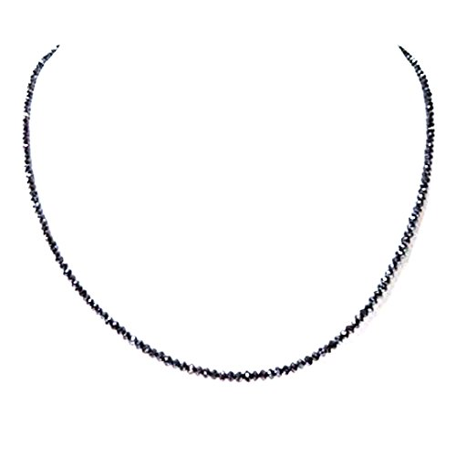 Barishh 35 cts 3mm Black Diamonds Faceted Beads 18 inches Necklace.AAA.Certified.Earth Mined. by Barishh