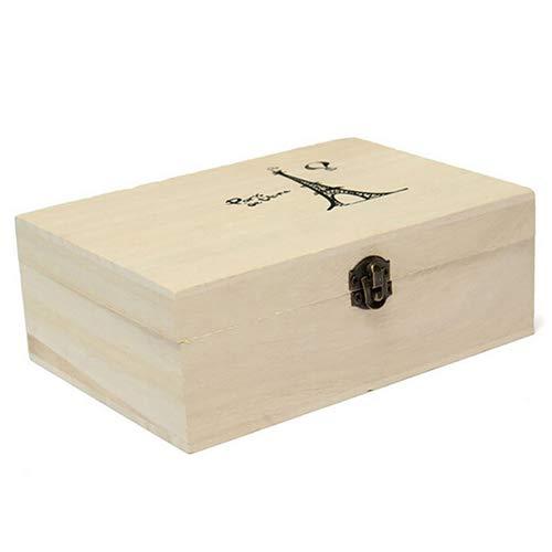 liyhh - Caja de Almacenamiento de Herramientas de Madera Natural sin Pintar con Caja de Almacenamiento para el Pecho