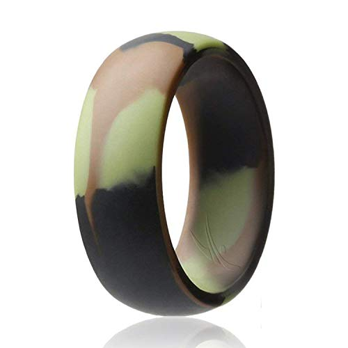 ROQ Silicone Wedding Ring for Men Affordable Silicone Rubber Band, Camo - Size 16