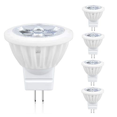 (Dimmable LED MR11 GU4 Light Bulbs, Lustaled 120V GU4 Bi-Pin Base LED Bulb 4W Ceramic GU4.0 LED Spotlight Lamp 35W Halogen Replacement for Landscape Track Accent Lighting (Warm White 3000K, 4-Pack))