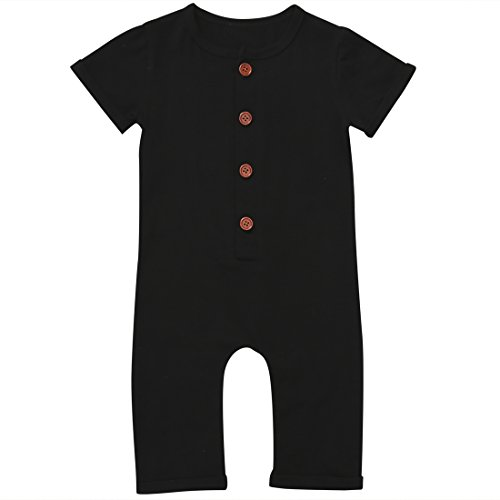 Gaono Infant Boys Black/Grey Button Up Romper Short Sleeve Basic Romper Coveralls(Black, 0-6Months)