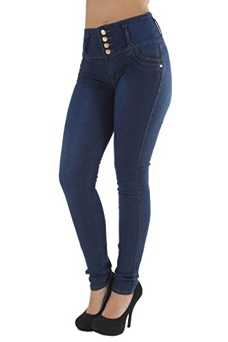 Skinny Wide Leg Jeans - Fashion2Love K157P - Plus Size, Butt Lifting, Levanta Cola, High Waist Sexy Skinny Jeans in Navy Size 24