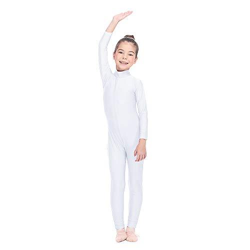 HDW DANCE Girls Unitard Gymnastics High Neck Ankle Length Dance Bodysuit (Small, White)