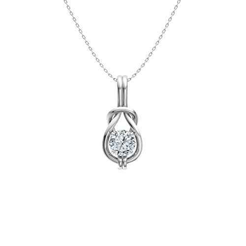 Diamondere Certified Moissanite Infinity Knot Solitaire Necklace in 14k White Gold   0.42 Carat Pendant with Chain