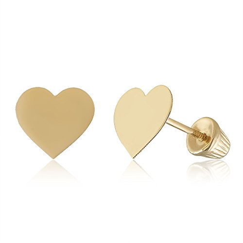 14k Yellow Gold Heart Earrings Solid Hypoallergenic Geometric Flat Stud with Screwback (14k Solid Gold Heart Ring)