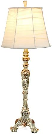 Elegant Designs Lt3301 Crm Antique Style Buffet Cream Ruched Shade Table Lamp