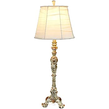 Elegant designs lt3301 crm antique style buffet table lamp with cream ruched shade antique style buffet table lamp with ruched shadecream 31 x 13 x 13