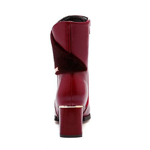 Mid Toe Women's Pointed top Closed Boots Blend Kitten Solid Claret AmoonyFashion Heels Materials wtzq5Hzd