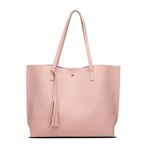 Nodykka Women Tote Bags Top Handle Satchel Handbags PU Pebbled Leather Tassel Shoulder Purse (one size, Pink4)
