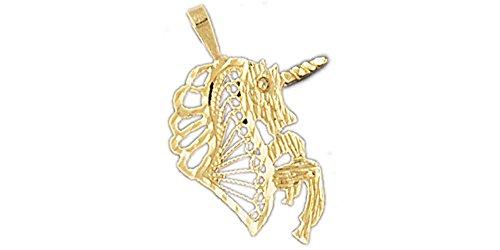14k Pendant Yellow Gold Unicorn (14K Yellow Gold Unicorns Pendant)