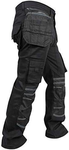 newfacelook Hommes Travailler Cargo Pantalon Cordura Genou Holster Poche