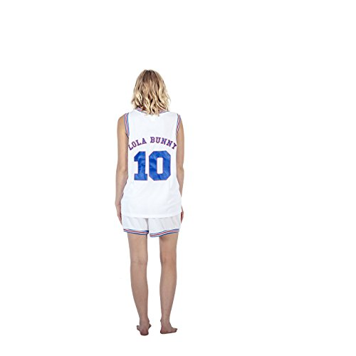 Space Jam Tune Squad Logo Lola Bunny #10 White Basketball Jersey (Adult Medium)