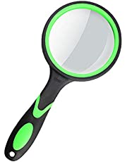 Magnifying Glass 10X Handheld Reading Magnifier for Seniors & Kids, Thickened Magnifying Lens with Non-Slip Rubber Handle, Ideal for Reading Small Prints Hobby Observation Inspection