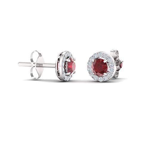 Diamondere Natural and Certified Ruby and Diamond Halo Stud Earrings in 14K White Gold | 0.72 Carat Earrings for ()