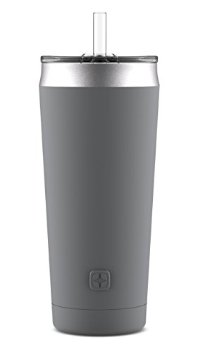 Ello Beacon Stainless Steel Vacuum Insulated Tumbler with Optional Straw, Grey, 24 oz.