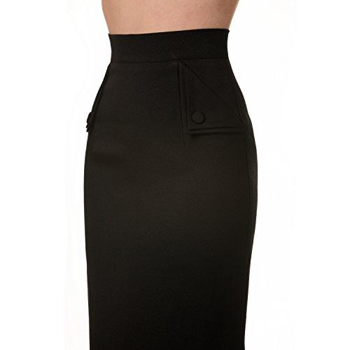 Plain negro seductor años 50rockabilly vintage Carrera Equipada animada lápiz falda excelente calidad