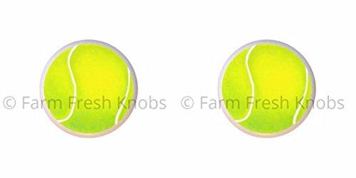 SET OF 2 KNOBS - Tennis Ball - Sports and Recreation - DECORATIVE Glossy CERAMIC Cupboard Cabinet PULLS Dresser Drawer - Tennis Ball Knob
