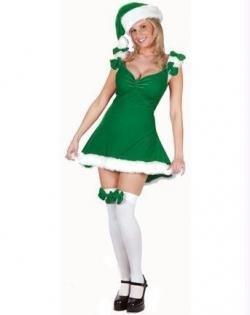 Sexy Helper - Sexy Santa Helper Adult Costume Green - Small/Medium