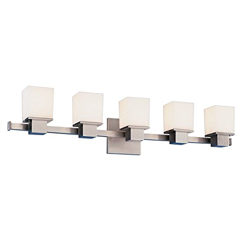 Matte Nickel Five Light (Hudson Valley Lighting Milford 5-Light Vanity Light - Satin Nickel Finish with Opal Matte Glass)
