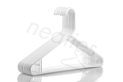White Medium Weight Premium Plastic Hangers w/ Bar Hooks, American Made Long Lasting Quality Hangers, Set of 30