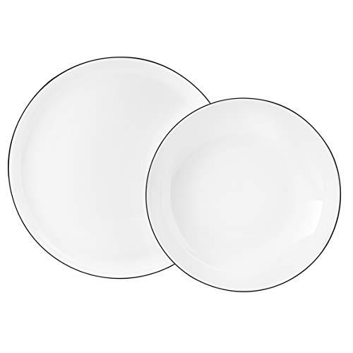 Seltmann Weiden 001.737148Lido Dinner Service 12Pieces Black Tea, Porcelain, White, 32.3x 32.3x 23.5cm 12Units