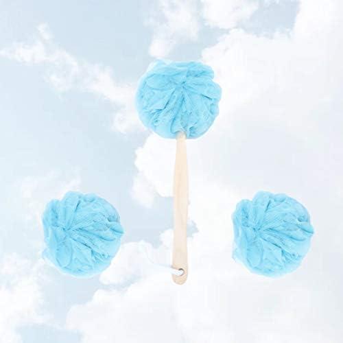 Minkissy シャワーヘチマバススポンジセットロングハンドバックバックスクラバーボールブラシ角質除去ヘチマボディフェイススパクリーニングホワイト