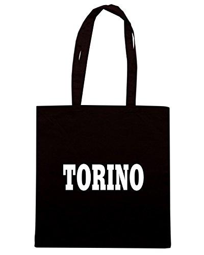 T-Shirtshock - Bolsa para la compra WC0945 TORINO GRANATA ITALIA CITTA STEMMA LOGO Negro