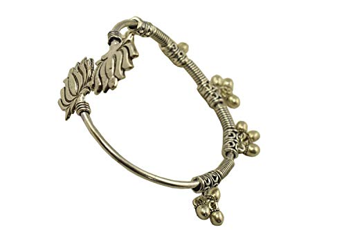 (Tripti Indian Charming Adjustable Brass Bangle Bracelet with Lotus Motifs and Ghunghroo Drops for Women and Girls)
