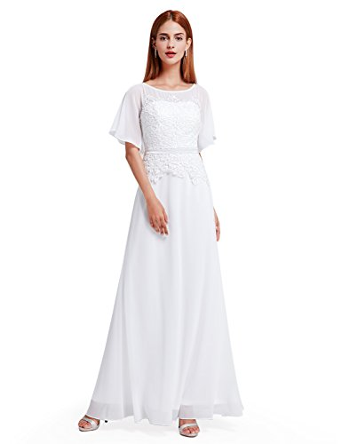Ever-Pretty Womens Floor Length Elegant Round Neckline Mother Of The Bride Dress 4 US White