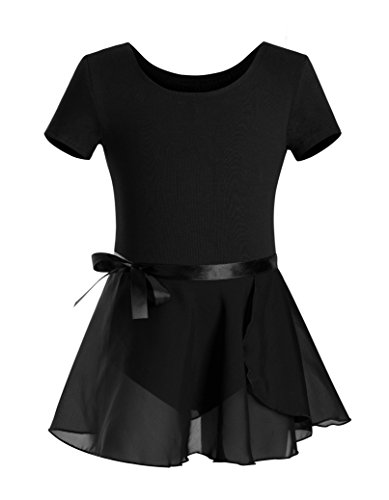 DANSHOW Girls Short Sleeve Leotard with Skirt Kids Dance Ballet Tutu Dresses(6-8,black)